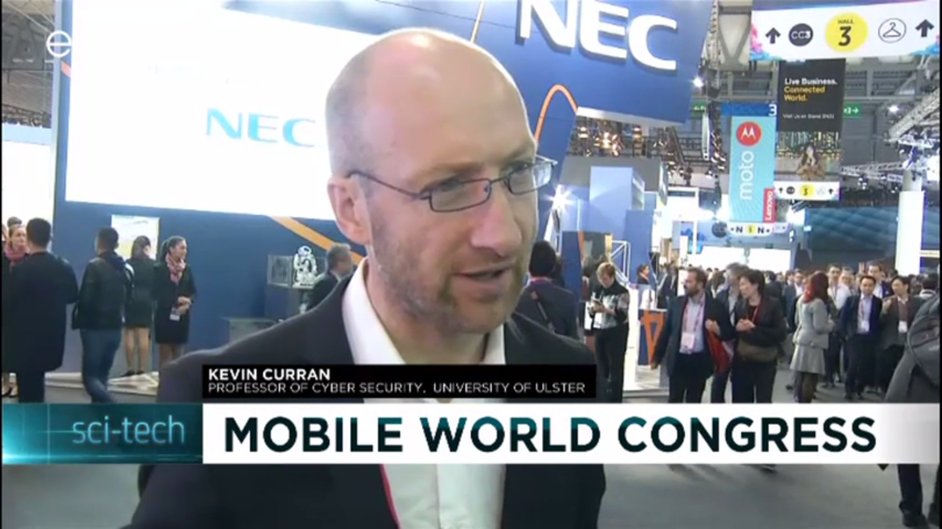 Professor Kevin Curran, Ulster University at Mobile World Congress 2017 speaking to Euronews.