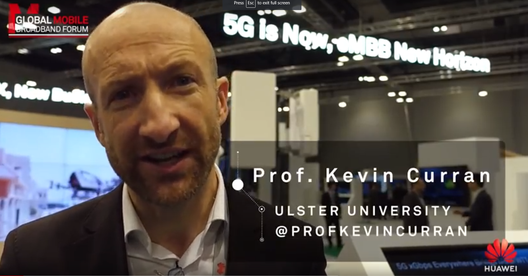 Professor Kevin Curran, Ulster University interview with Huawei at Mobile Broadband Forum 2018 about the potential for 5G technology in the future.