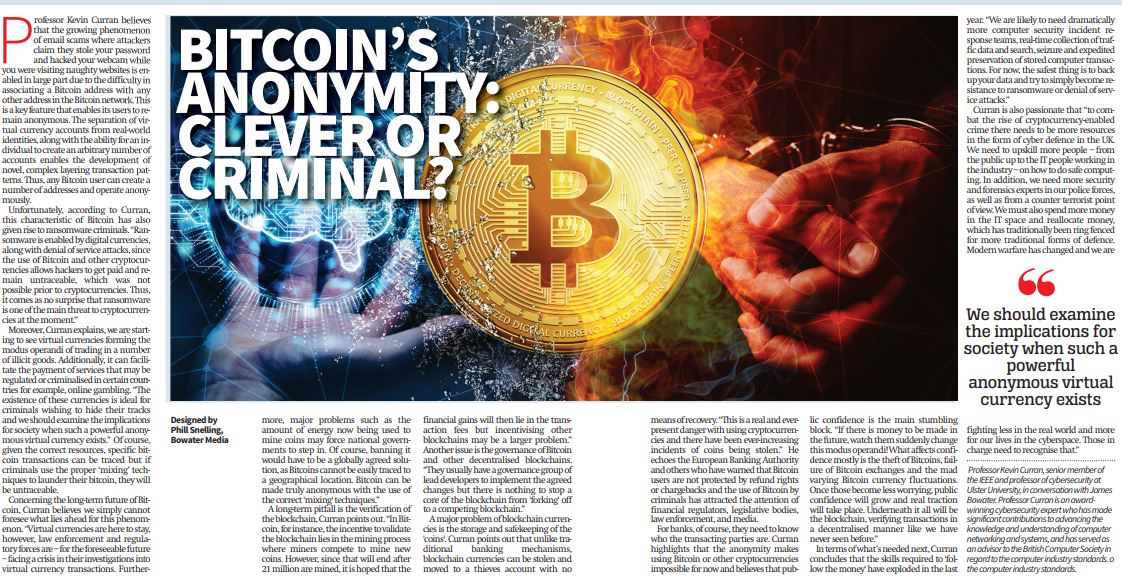 Professor Kevin Curran, Ulster University in an interview with City AM on the growing phenomenon of email scams where attackers claim they stole your password and hacked your webcam which are enabled by Bitcoin.