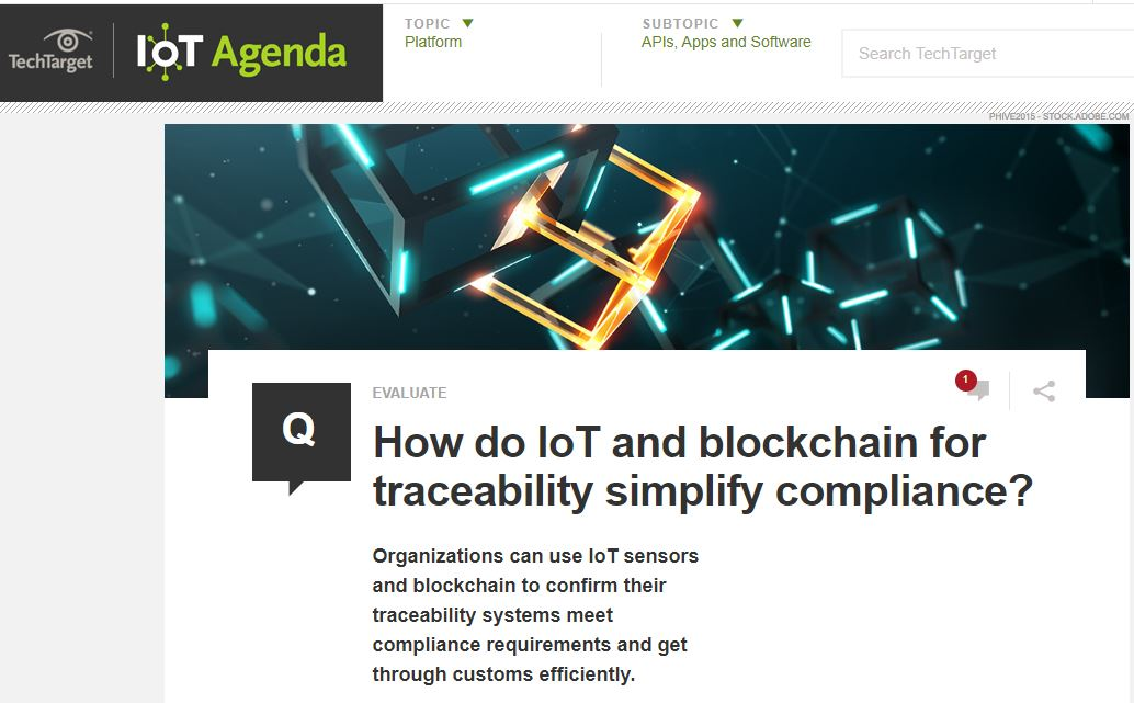 rofessor Kevin Curran, Ulster University in an interview with IoT Agenda on how blockchain can help organisations simplify the compliance process with blockchain for traceability.