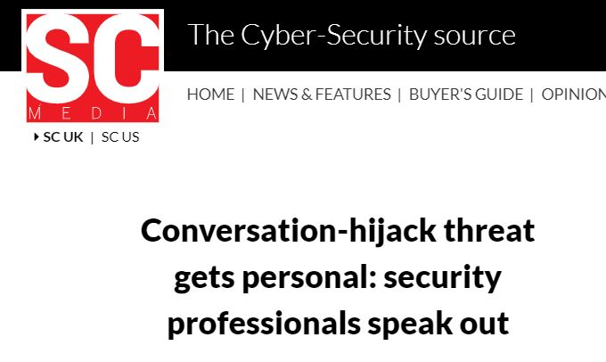 "Professor Kevin Curran, Ulster University in an interview with SC Magazine about the latest email phishing trend known as ""conversation hijacking"" which increases the chances of malicious links being clicked on."