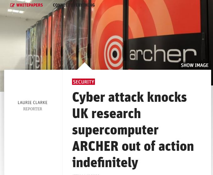 Professor Kevin Curran, Ulster University in an interview with New Statesman on the UK's most powerful research supercomputers being been knocked offline indefinitely due to a security exploitation of its login nodes.